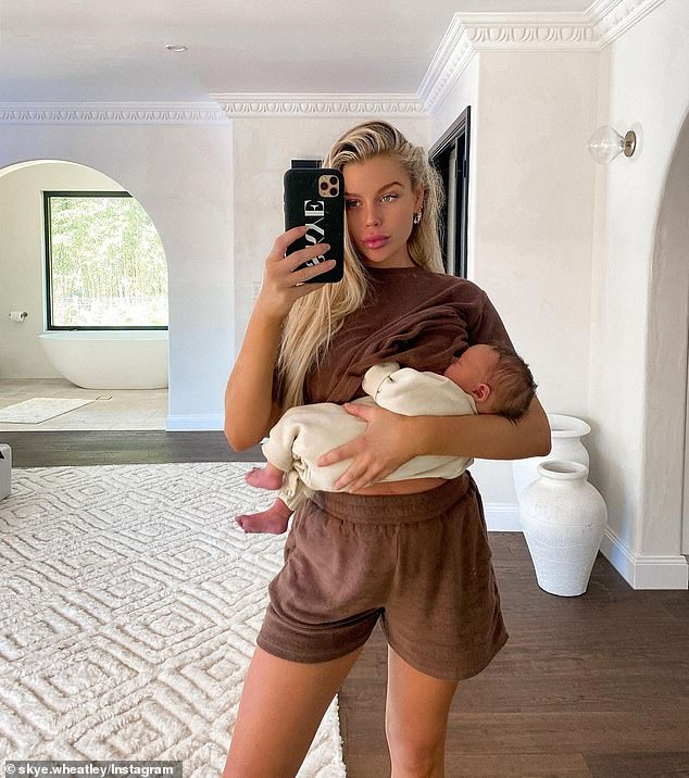 Hmm! Skye Wheatley proudly announced on Wednesday her 'stomach has gone down so fast' since giving birth last Friday - but credited the change in her figure to 'eating healthy' instead of the more obvious fact she no longer has another human being inside her