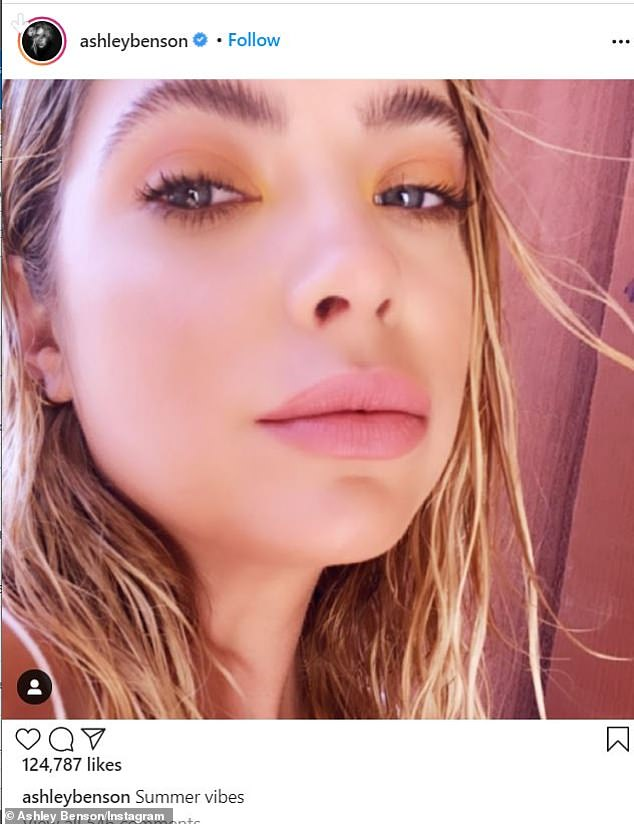 Stunner:She shared another view of her pristine beach look on her main Instagram page, captioning the closeup: 'Summer vibes'
