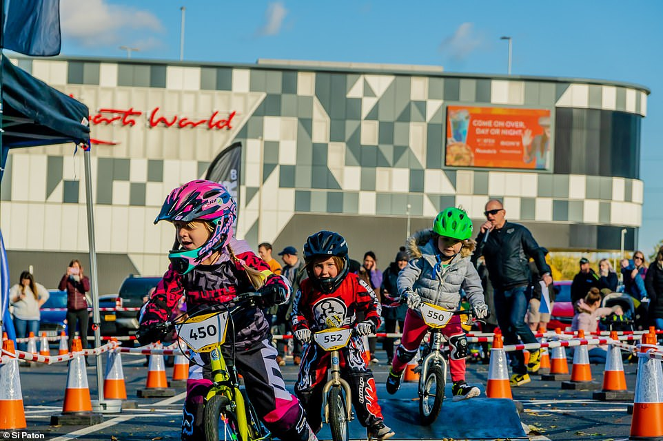 A zippy toddler makes it to the first corner first at the 2019 Balance Bike Cup at Resorts World Birmingham