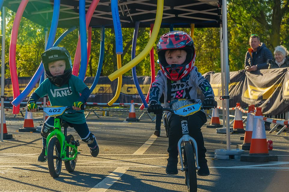 Riders negotiate 'Noodle Alley' at the2019 Balance Bike Cup at Resorts World Birmingham