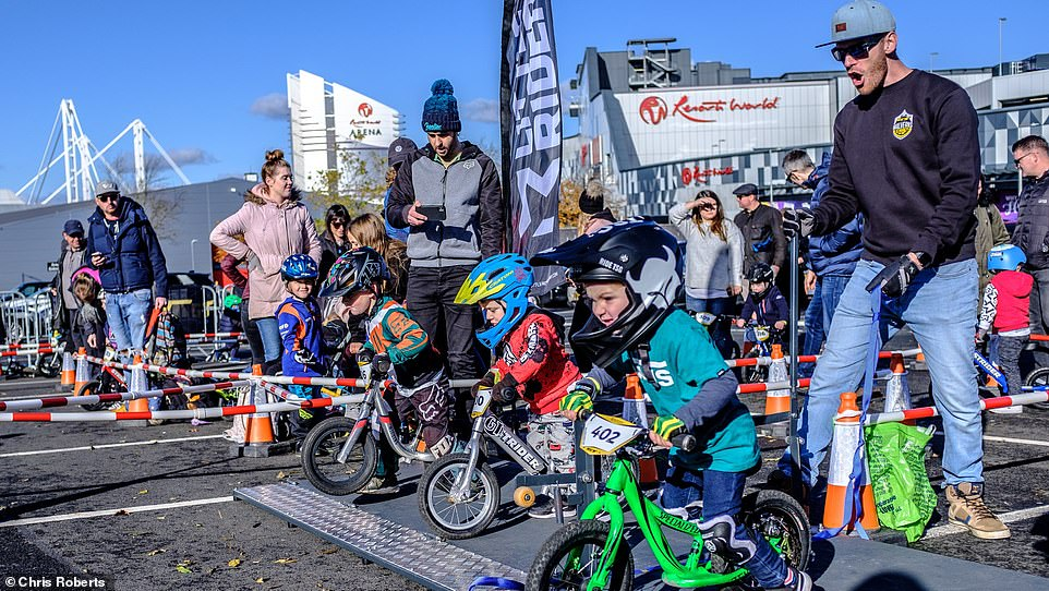 Toddlers get ready for the off at the Balance Bike Cup, Resorts World Birmingham, on October 2019