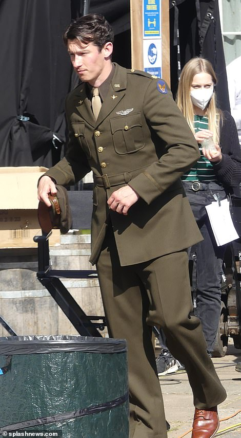 Taking to the skies:War and Peace star Callum Turner was transformed into a brave US army airman to filmMasters Of The Air in Berkshire on Tuesday