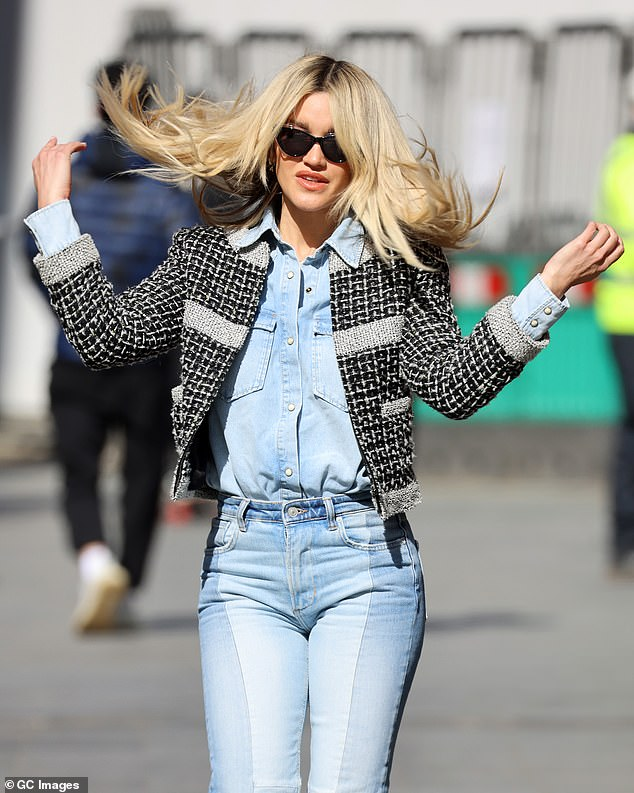 Swish: Ashley put on an animated display as she flicked her hair around while leaving the studios