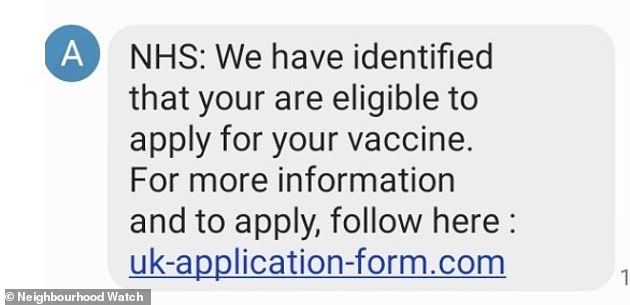 Vulnerable Britons are being targeted with fraudulent text messages offering them access to coronavirus vaccinations