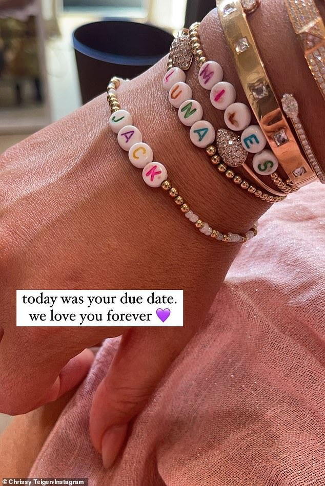 Missing him: Chrissy recently posted a photo of a bracelet made for Jack as she somberly commemorated what would have been his due date in February
