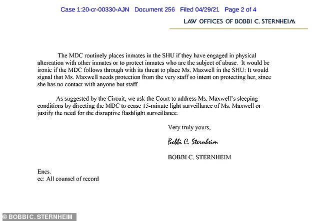 In Thursday's filing, Maxwell's lawyer Bobbi Sternheim wrote that on Wednesday evening she was 'confronted by MDC staff due a visible bruise over her left eye'