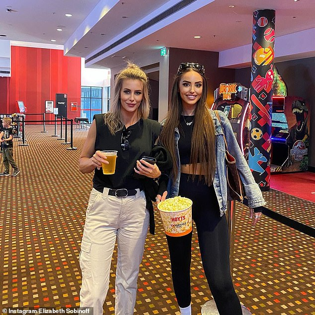 Daytime: Lizzie showed off her slender figure in sportswear in accompanying photos of her trip to the movies with a friend to see Mortal Kombat