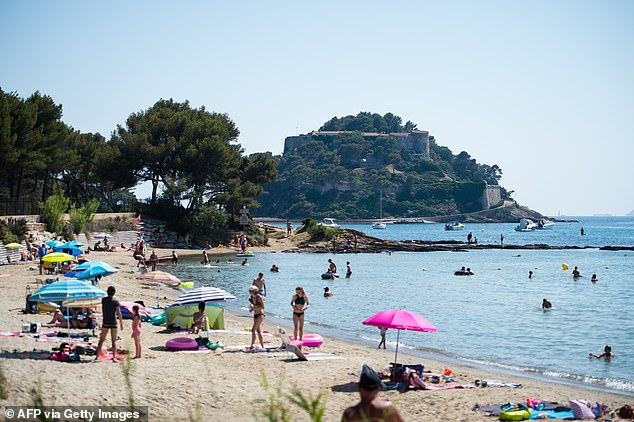 British tourists will be welcome in France from June 9 as long as they have proof of vaccination or a negative test (pictured: Beach atBormes-les-Mimosas, southern France, July 2019)
