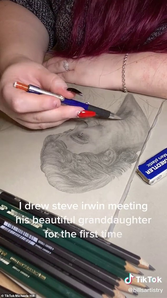 Touching: The stunning portrait shows a tearful Steve gazing adoringly at his granddaughter as he tenderly cradles her in his arms