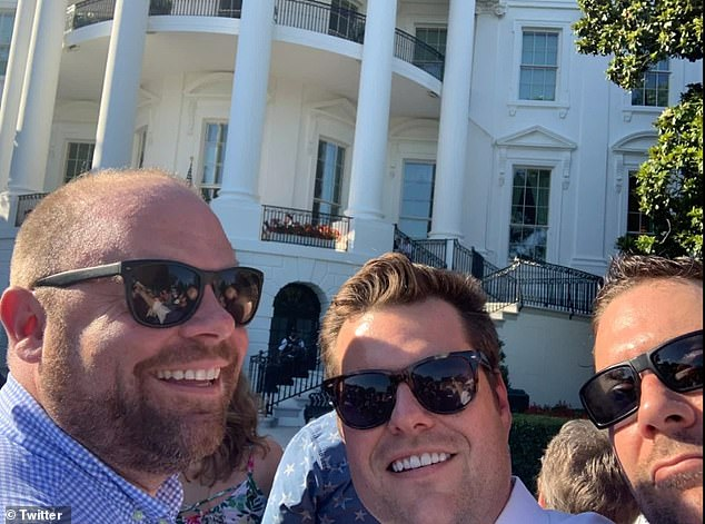 Gaetz, center, and Greenberg are pictured together outside of the White House