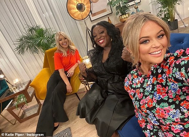 Smile! Katie later shared a snap with Emily Atack and Loose Women's Judi Love as she told viewers to watch Stacey Dooley's BBC show This Is My House