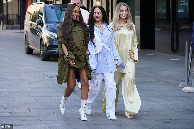 Toned: Leigh-Anne flashed her toned legs and added some extra height to her frame with a pair of white pointed boots