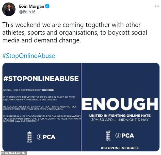 England cricket captain Eoin Morgan echoed the ECB's demands that social media companies must do more to stamp out online abuse