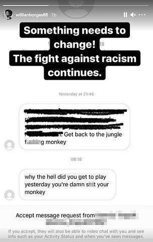 The first Instagram direct message thread posted by the Brazilian on his story