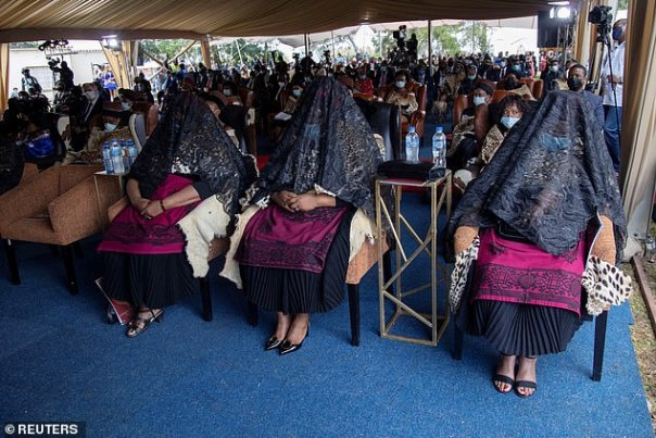 KingZwelithini left behind six wives (pictured in shrouds at his memorial service on March 18), 28 children and a thorny question on succession