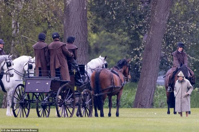 The Queen's stoic spirit shone through as she studied the horses and the Duke of Edinburgh's carriages earlier today