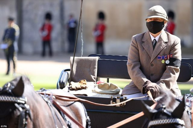 In one poignant moment at his funeral, the Duke's carriage was driven into the Quadrangle alongside his gloves, hat and whip