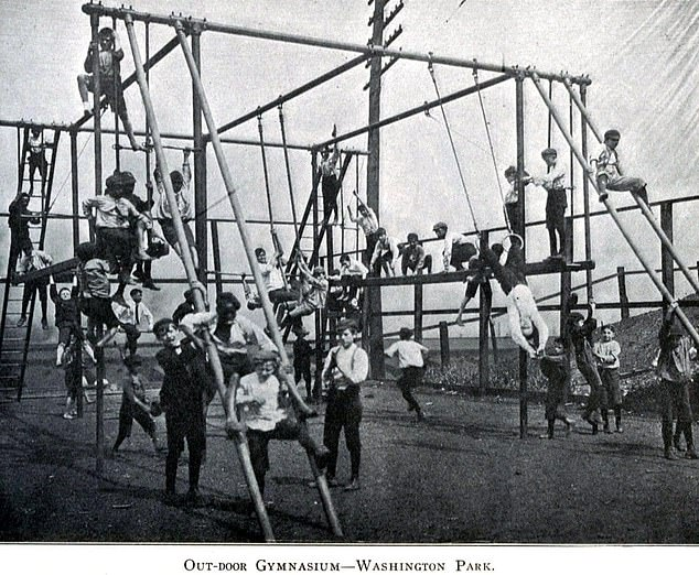 In 1988, a boy from Washington DC reportedly took a tumble from a high piece of apparatus and his family was awarded $15 million in compensation. Pictured, an outdoor gymnasium in Washington Park