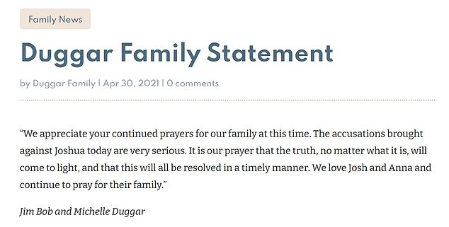 His parents issued this statement on Friday: 'The accusations brought against Joshua today are very serious'