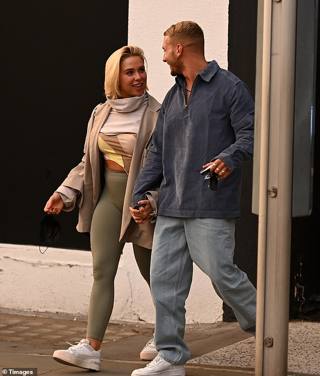Look who's back:Gabby Allen and her boyfriend Brandon Myers were seen publicly in the UK for the first time on Friday since jetting home from the United Arab Emirates city earlier this month