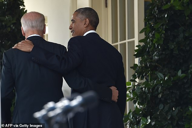 President Barack Obama (R) leaves together with Vice President Joe Biden (L) after he addressed the nation publicly for the first time since the shock election of Donald Trump as his successor, on November 9, 2016 at the White House