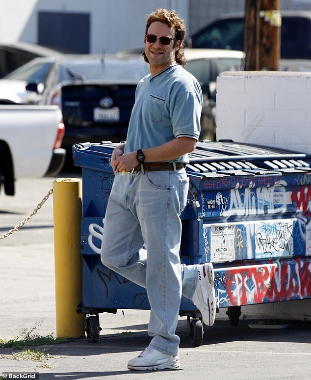 Happy smoke break: On Friday, comedic actor Seth Rogen was seen on the set of his new film Pam & Tommy in Los Angeles