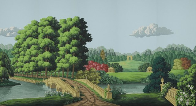 Taking things to the next level, this is known as 'panoramic wallpaper', forming a mural-like scene. Its English Landscape collection includes pastoral scenes and masterpieces from Gainsborough, painted by hand