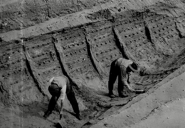 The discovery of a royal 'funeral-ship' was made in the largest of three mounds on a hilltop at Sutton Hoo, near Woodbridge