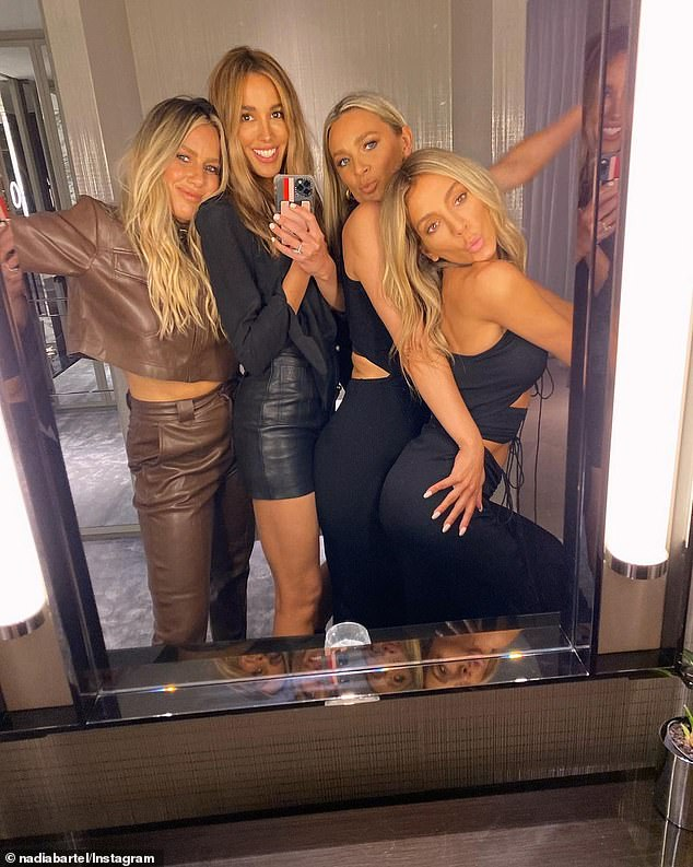 Inside Bec Judd and Nadia Bartel's work trip to Sydney: Glamorous AFL WAGs wore racy outfits on Friday night as they posed up for a series of fun mirror selfies with their 'best friends' at Crown