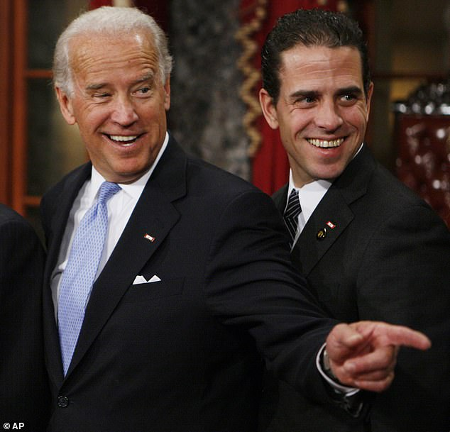 Joe Biden with his son Hunter, seen in January 2009