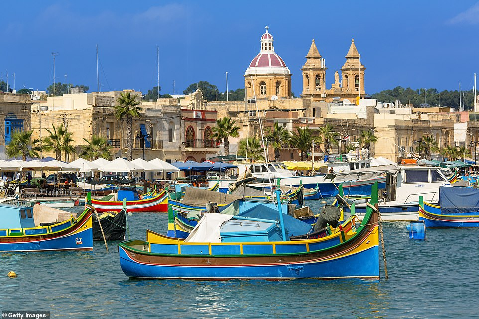 Government sources yesterday stressed that no final decisions have been made on which countries will make the 'green list', though industry experts have predicted that the majority of European countries will remain 'amber.' Pictured: Malta, which is predicted to be 'green'
