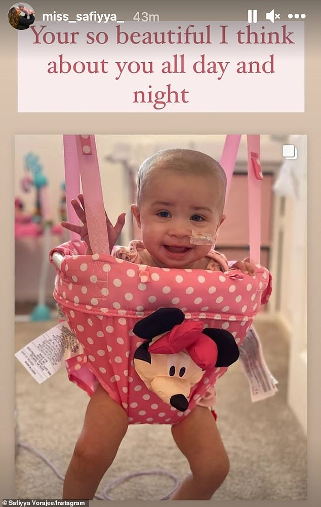 'Your so beautiful I think about you all day and night': The grieving mother also shared an adorable picture of her baby smiling and waving