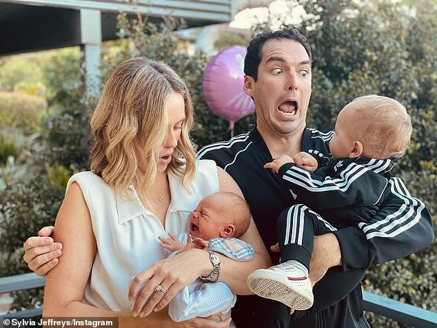 Family:Also at the party were Sylvia Jeffreys and Peter Stefanovic, who were on aunt and uncle duty.The pair brought their own children along, one-year-old Oscar and newborn Henry. who arrived in April. All pictured