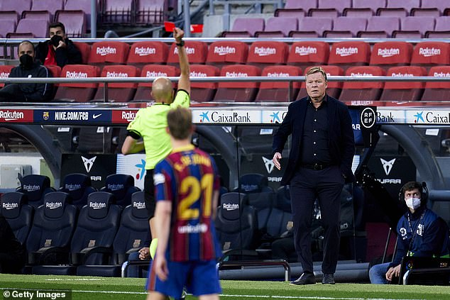 The Barca head coach was shown a red card after clashing with the assistant referee