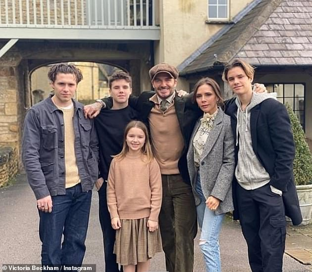 Beckham Brood:The sweet post comes after Victoria gave an insight into how her family spent lockdown on Thursday (pictured together earlier this year)