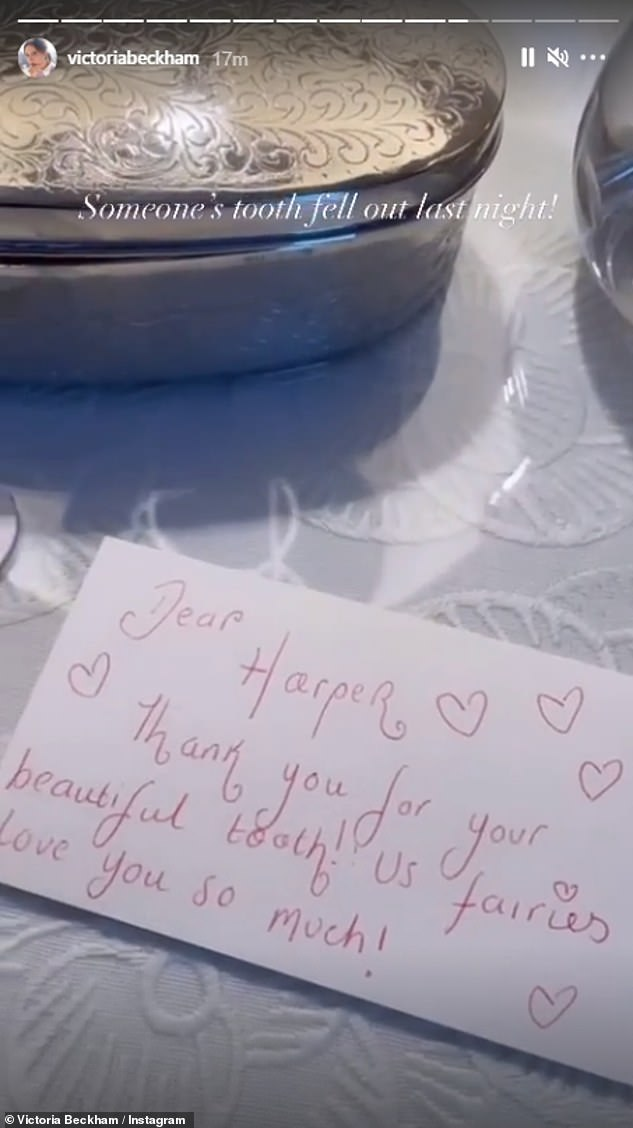 'Thank you for your beautiful tooth':Victoria filmed the collection of magical messages, all of which were covered in cute love hearts