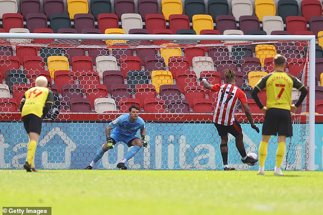 Toney struck from the spot to double the lead, burying the spot-kick to the keeper's left