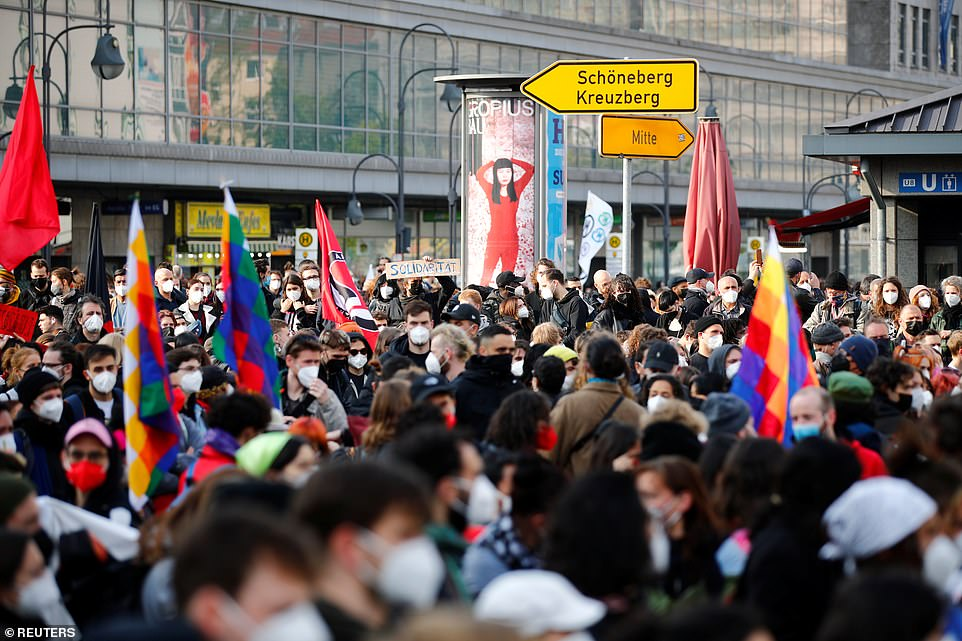 BERLIN, GERMANY: Huge crowds of people are gathered together in the German capital as they take part in the May Day protests