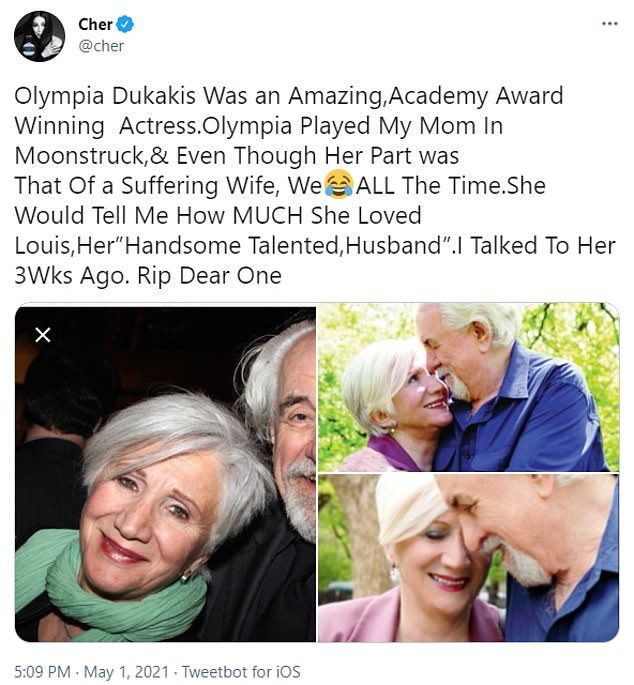 Cher has led the tributes for her Moonstruck co-star Olympia Dukakis, who died in New York City on Saturday aged 89