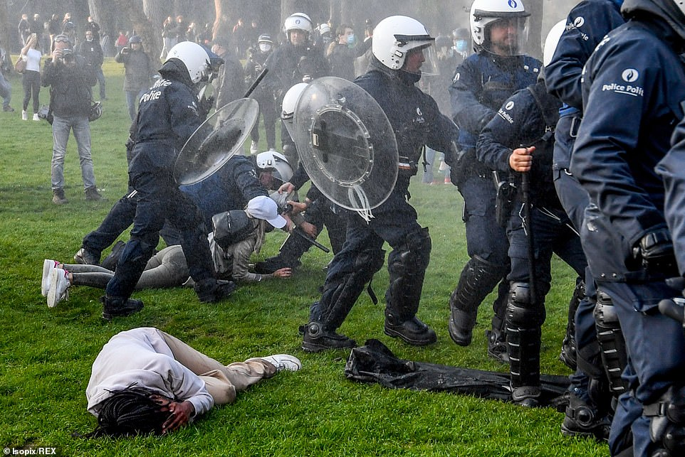 BRUSSELS, BELGIUM: Police responded to an anti-lockdown party, designed to defy coronavirus social distancing rules in the city'sBois de la Cambre park