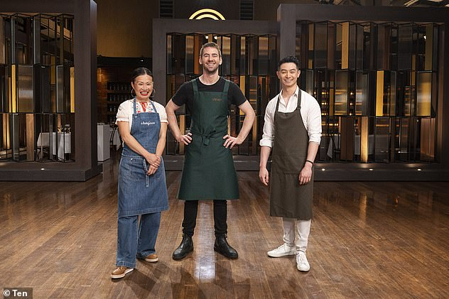 Star team:Reynold appeared on Sunday's episode of MasterChef Australia as a guest judge alongside Callum Hann and Poh Ling Yeow. All pictured