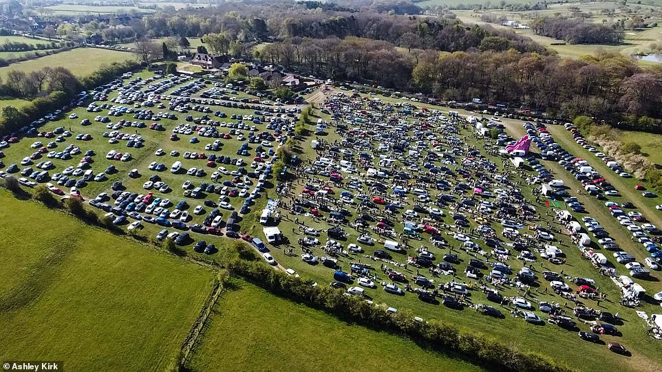 Crowds flocked to the reopening of a popular car boot in smalley, Derbyshire, this morning in the chilly sunshine