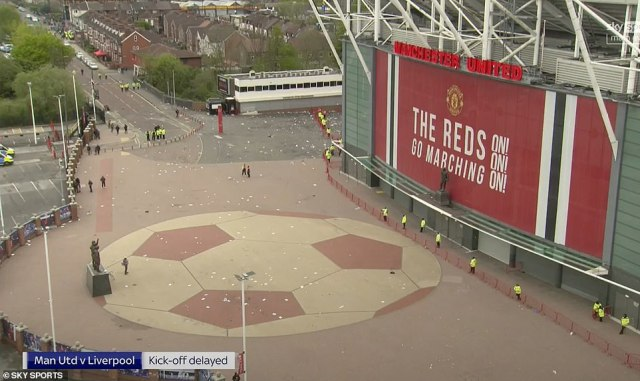 Riot police did manage to clear the area around Old Trafford at around 4.30pm - when the game should have started