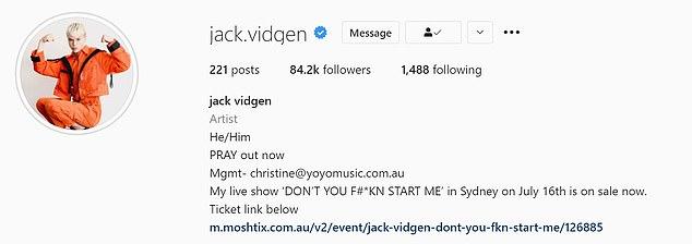 Clarification: Jack's Instagram bio states his gender pronouns are he/him