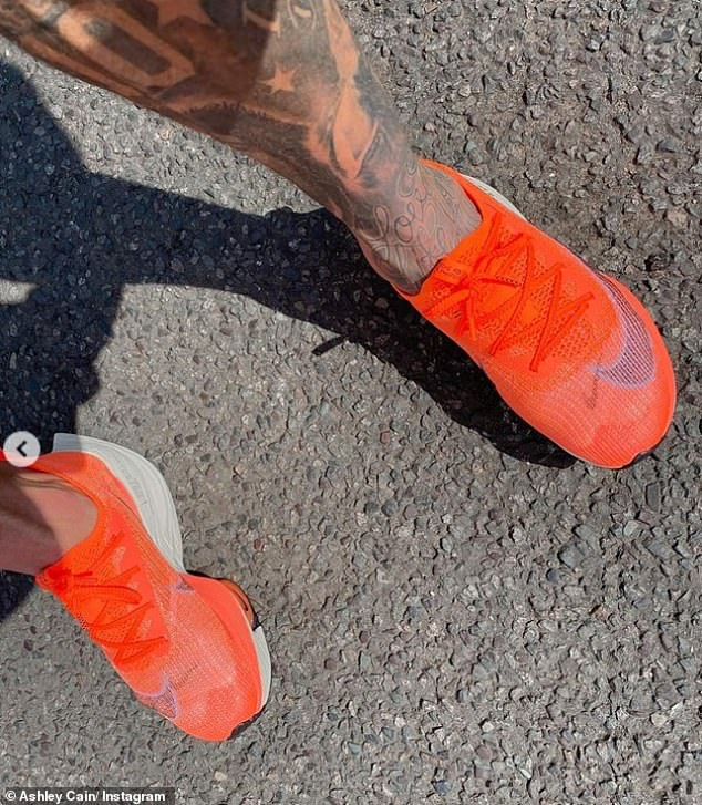 He explained: 'I got them in orange to represent Azaylia and her battle, in the hope they would inspire me to get out and work through the pain'
