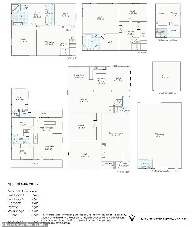 The floor plan of the homes (pictured) shows there are three to four standalone living spaces