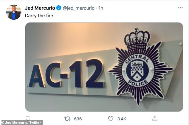 Cryptic: The writer, 55, shared a picture of the AC-12 sign to his Twitter after the episode had aired and simply captioned it: 'Carry the fire', which gave no indication if there will be a seventh series or not
