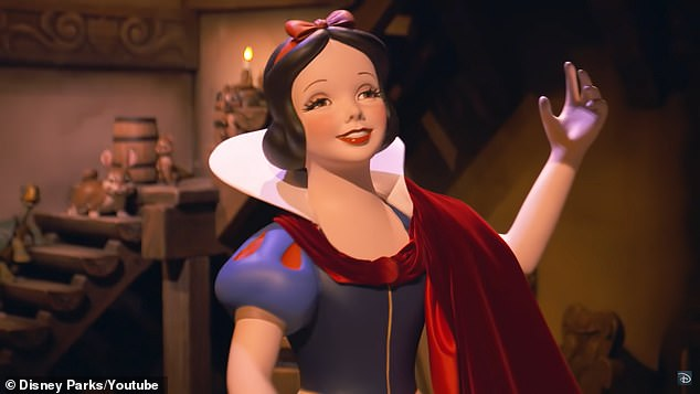 The Snow White character fromSnow White's Enchanted Wish at Disneyland is seen, after Disney overhauled the dark ride significantly