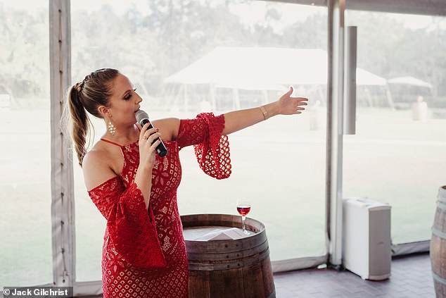 Kerstyn said women often employ her to do the running around so their closest friends and family can relax and take in the wedding day, and she has given speeches (pictured)