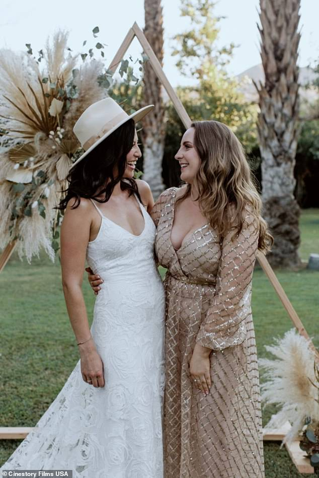 Kerstyn Walsh (pictured with a bride) said even though she's been asked to come up with 'quirky backstories' as to how she knows the bride, she doesn't stray too far from the truth